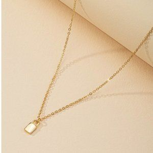 3/$30 Gold Color Chain Lock Charm Necklace